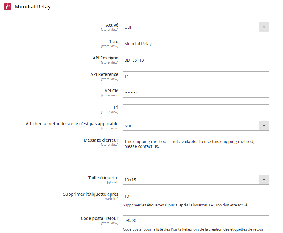Configuration des méthodes Mondial Relay